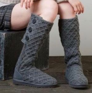 Ugg Lattice Cardy Gray Triple Button Knit Boot